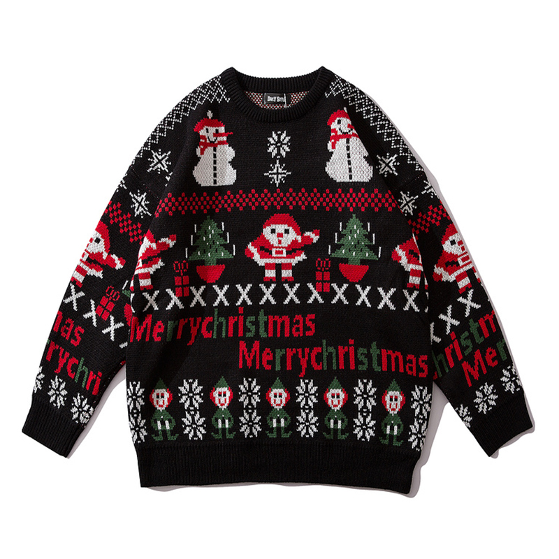 Plegie Winter Christmas Printed Pullover Couple Sweater Mens Knitted Pullover O-neck Sweaters Hip Hop Unisex Oversize Pull Homme