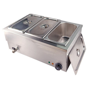 Food Warmer Electric Bain Marie Three Pans Steamer Household 25 Liters 220V For Restaurant Catering