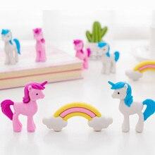 3pcs/lot lovely Rainbow Unicorn Eraser rubber  Set Animals Pencil Erasers Stationery Students Gifts