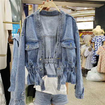 Denim Jacket Woman Spring and Autumn New Short Jeans Coat Pleated Waist All-match Fashion Jackets Womens Coats