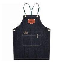Delantales de tela vaquera a la moda, delantal Cortex para la cocina, trabajo unisex delantal barman pinafore bib, regalo de bolsillo para hombres