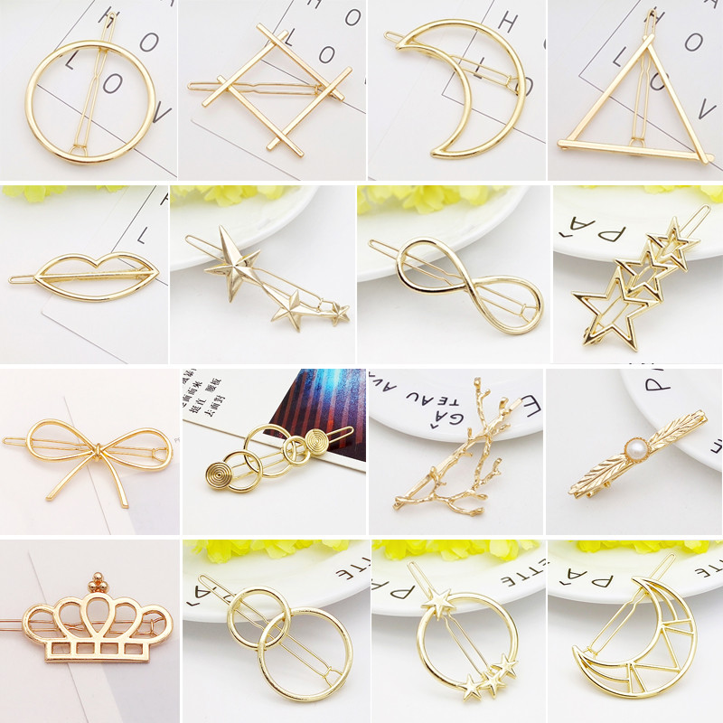 Metal Hairpin Barrettes Clips For Women Hair Side Geometric Lip Stars Knot Hairpins Ponytail Bobby Pins Girls Hair Accessories
