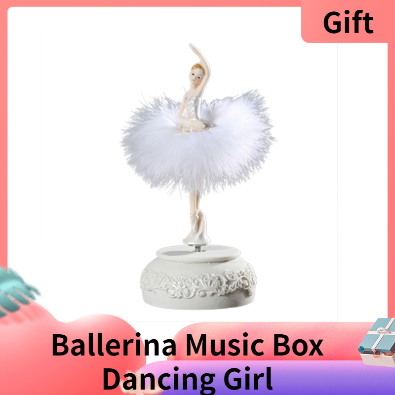 Ballerina Music Box Dancing Girl Swan Lake Carousel with Feather for Birthday Wedding Gift for Girls Lovely gift