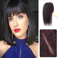 Topper-Hairpieces Thinning-Hair Silk Base-Hair Natural-Black Women with Bangs Clip-In