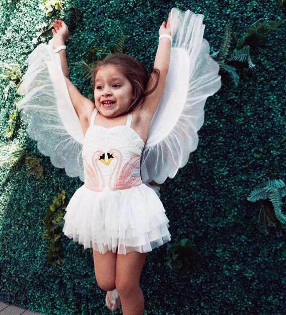 Christmas Girls Flamingo Wings Angel Dress Children White Princess Dress For Wedding Kids Embroidered Tulle Ballet Tutu Dress