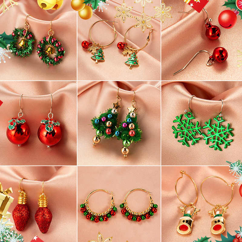 Christmas Multiple Red Green Snowman Bells Drop Earrings for Women Girl Metal Tree Snowflake Elk Dangle Earrings Party Jewelry