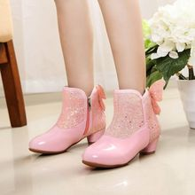 Girls Princess Boots Winter Autumn Warm Pu Zip Butterfly Crystal Ankel Boots Girls Bling Plush Rubber Shoes Kids