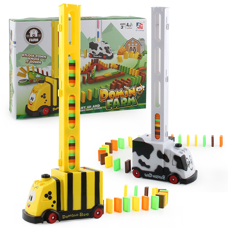 Children Educational Building Blocks Toy Douyin Domino Small Train DIY Automatic Delivery Electric Toy Car