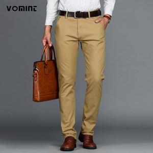 Image 1 - VOMINT Pantalones elásticos informales de algodón para hombre, pantalón largo y recto de alta calidad, 4 colores de talla grande, 42 44 46