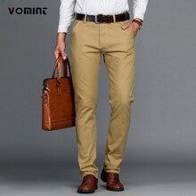 Vomint calças masculinas, calças casuais de algodão, stretch, longas, retas longas, alta qualidade, 4 cores, plus size, 42 44 46