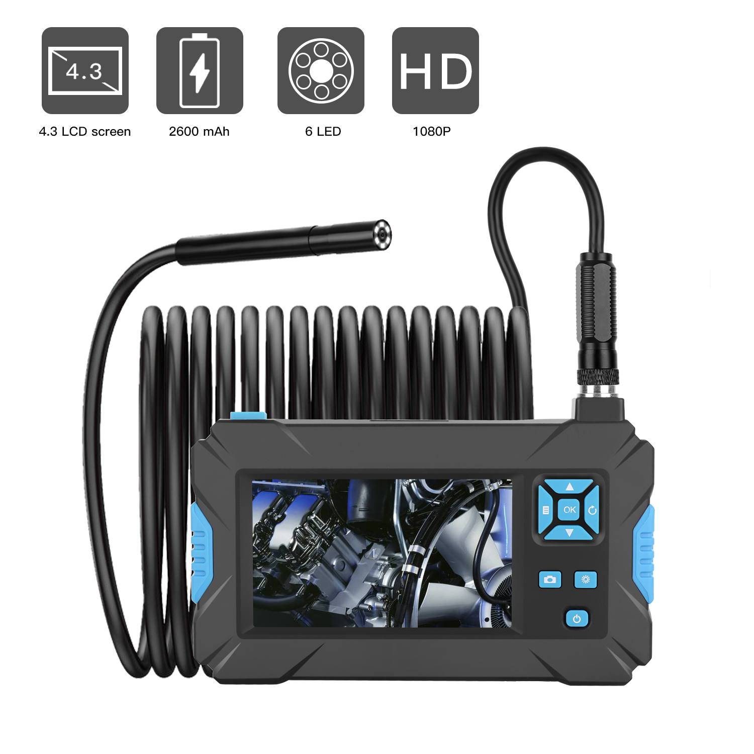 8 LED Industrial Endoscope Inspection Camera with 4.3in Screen Diameter 8mm Video Inspection Camera P40 1080P Waterproof Inspection Camera