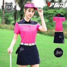 PGM одежда для гольфа женская футболка с короткими рукавами комплект с юбкой для гольфа Летние виды спорта на открытом воздухе командный костюм Спортивная одежда для гольфа