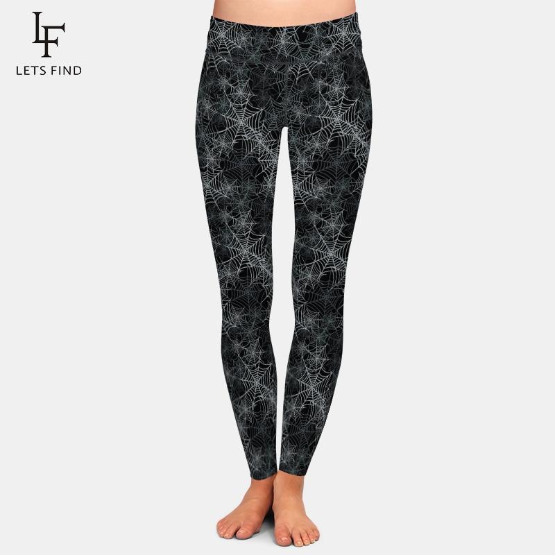 LETSFIND Women Workout Leggings Fashion 3D Spider's Web Print High Waist Elastic Fitness Soft Slim Full Leggings Plus Size 1