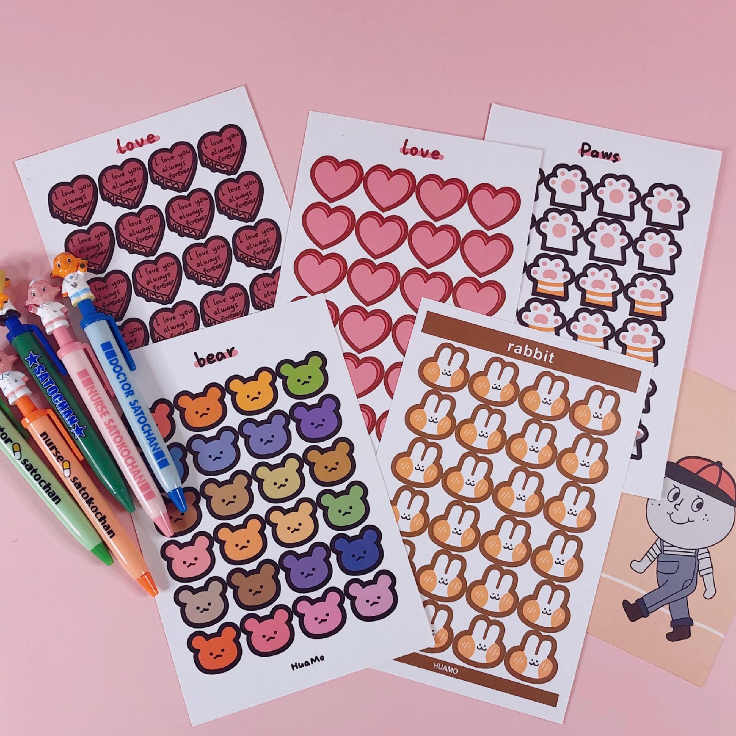 24pcs/page Cartoon Little Stickers DIY Scrapbooking Week Phone Album Diary Happy Planner Journal Decoration Sticker