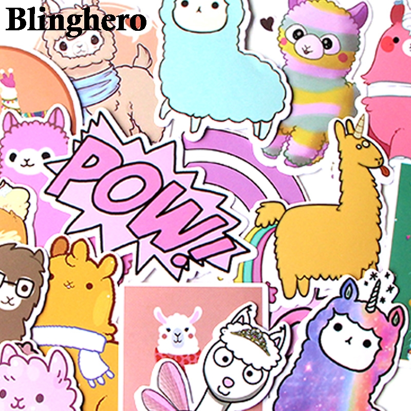 CA268 18pcs/set Cute Alpaca Mixed Stickers Laptop Car DIY Skateboard Graffiti Laptop Badge Motorcycle Luggage Bags Accessories