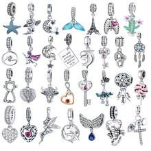 Heißer Verkauf Echte 100% 925 Sterling Silber Daisy Flügel Anhänger Charme Perlen Fit Original Marke Armband Halskette Authentische Schmuck