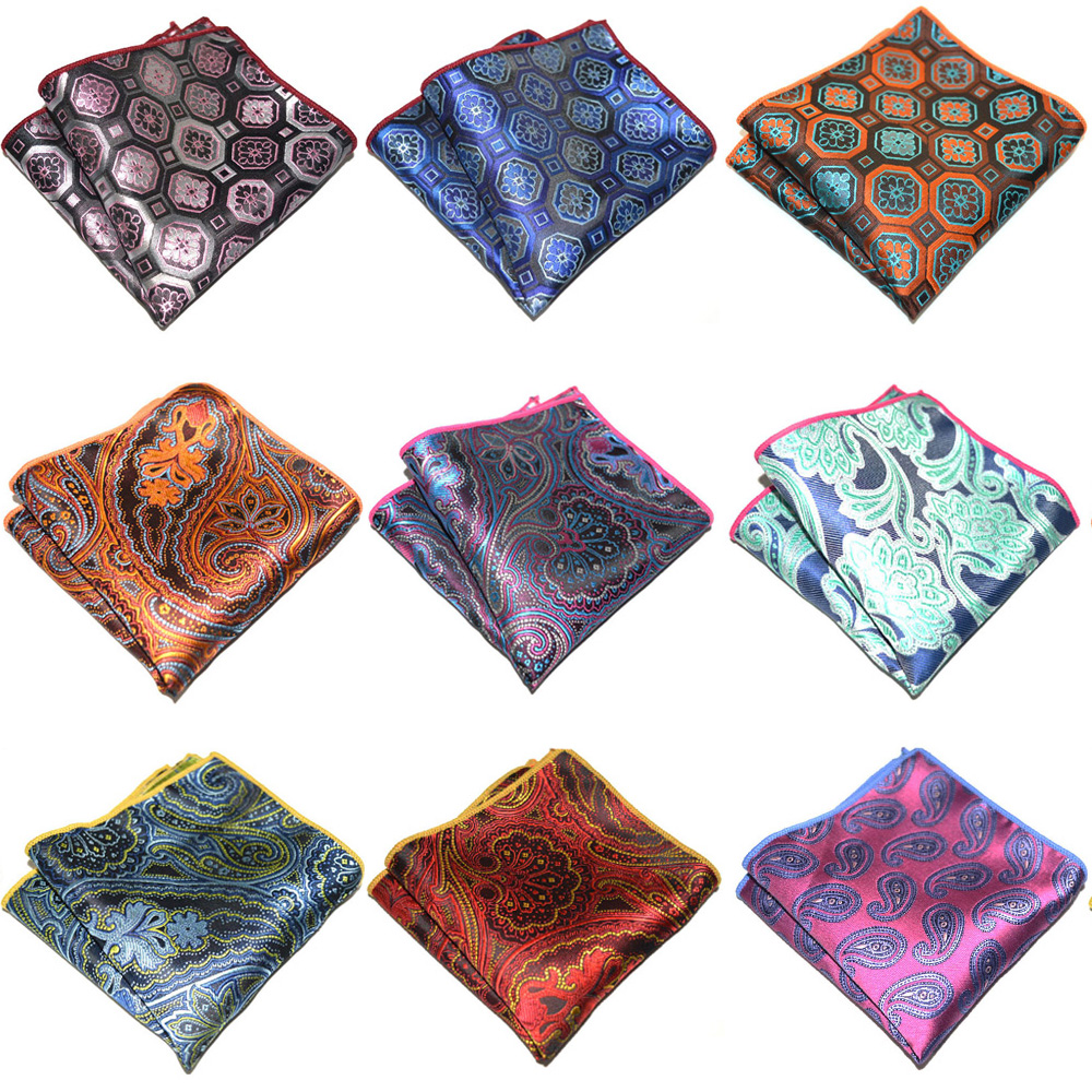 Mens Business Handkerchief Geometric Paisley Pattern Hanky Pocket Square