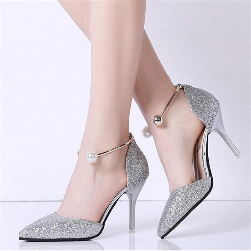 Zapato elegante con Glitter oro plata aliexpress.