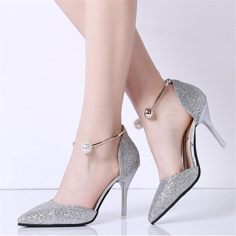 Elegant Ladies Shinning Glitter Gold Silver Pumps 2019 Sexy Pointed Toe High Heels Ankle Strap Wedding Party Shoes Woman