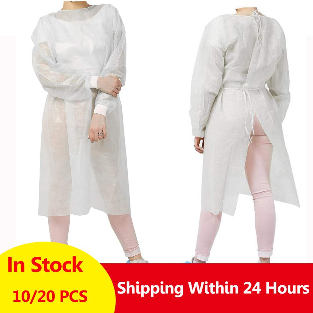 10/20PCS Disposable Isolation Clothes Non-woven Dust-proof Blue Security Protection Suit Surgical Suit Isolation Gown Blouse