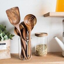 Thailand Teak Natural Wood Tableware Spoon Colander Soup Skimmer Cooking Spoons Scoop Kitchen посуда для кухни наборы для кухни