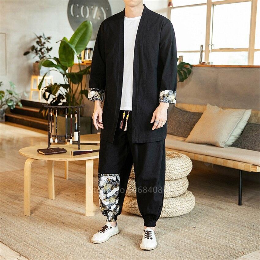 Traditional Chinese Man Clothing Set Short Sleeve Splice Cardigan Coat Print Wide Leg Trousers Oriental Retro Hip Hop Streetwear