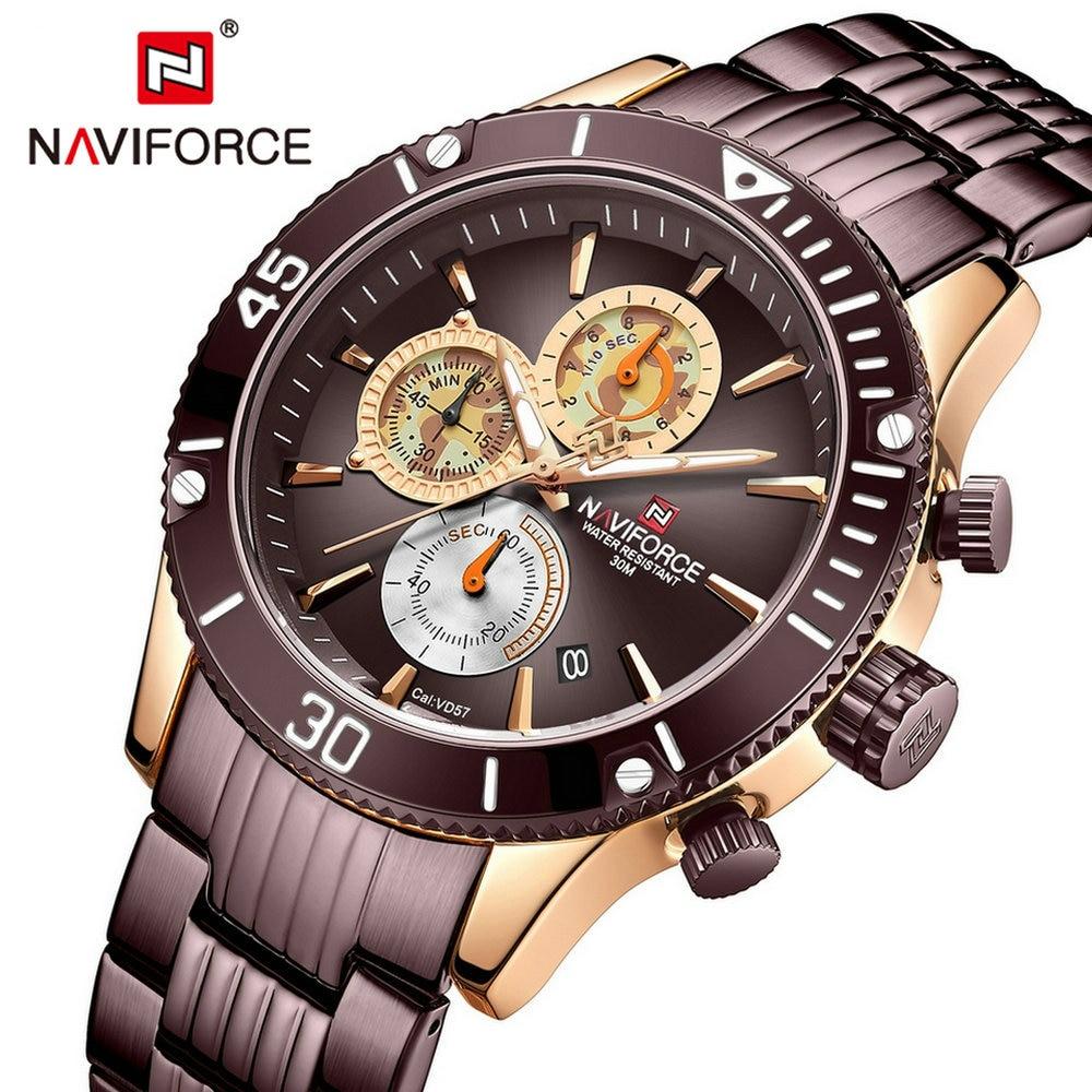 Luxury Brand NAVIFORCE Quartz Watches Waterproof Fashion Sports Chronograph Watch Stainless Steel Strap Military Army Wristwatch|Quartz Watches| |  - title=