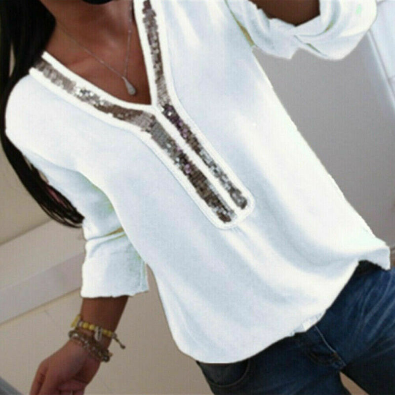 Hirigin Fashion Women Ladies Long Sleeve Loose Blouse Summer V Neck Casual Shirts Tops Clothing Sequined Casual Soft Clothes