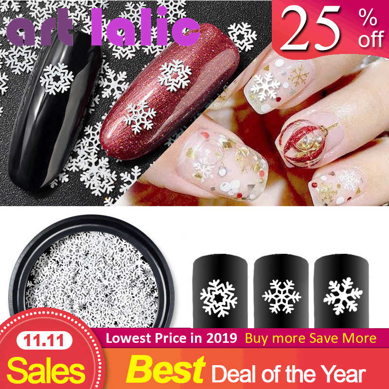 1 Bottle 3D Snowflakes Nail Sequins Flakes Paillette Tip White Mixed Glitter Christmas Nail Art Polish Manicure Decorations DIY
