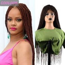 Perruque Lace Front Wig tressée 30 pouces, perruque frontale à dentelle synthétique marron ombré avec cheveux de bébé pour femmes noires