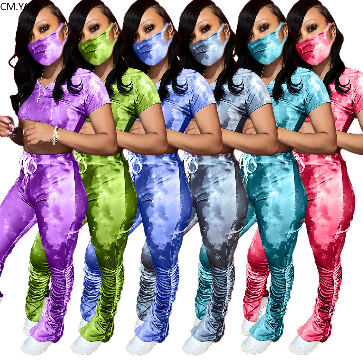 CM.YAYA Women With Mask Tie Dye Print Three Piece Set V-neck Tops Stacked Bell Bottom Flare Jogger Suit Tracksuit Matching Set