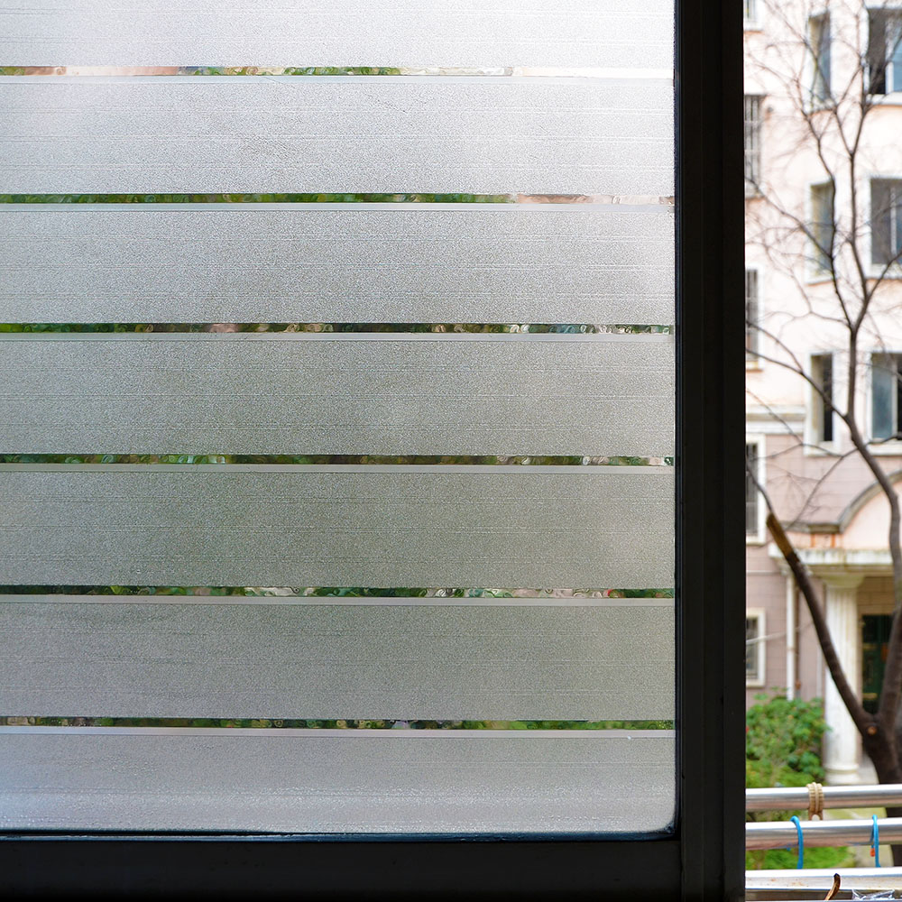 US White Privacy Frosted Film Frost Glass Window Film Striped Shutters Sticker