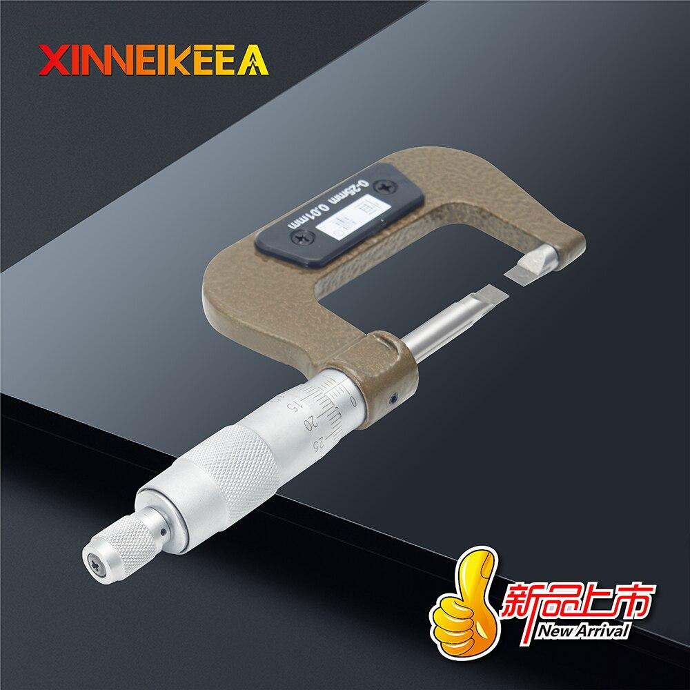 Высокоточный микрометр из нержавеющей стали для измерения толщины лезвия зазора канавки 0,4 мм 0,7 мм Тонкий микрометр