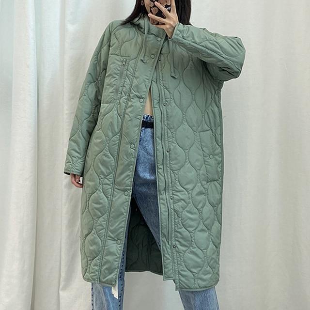 New Autumn Winter Women Vintage Green Parka Jacket Coat Casual Warm Loose Hooded Overcoats Female Oversize Long Outwear Ladies 6