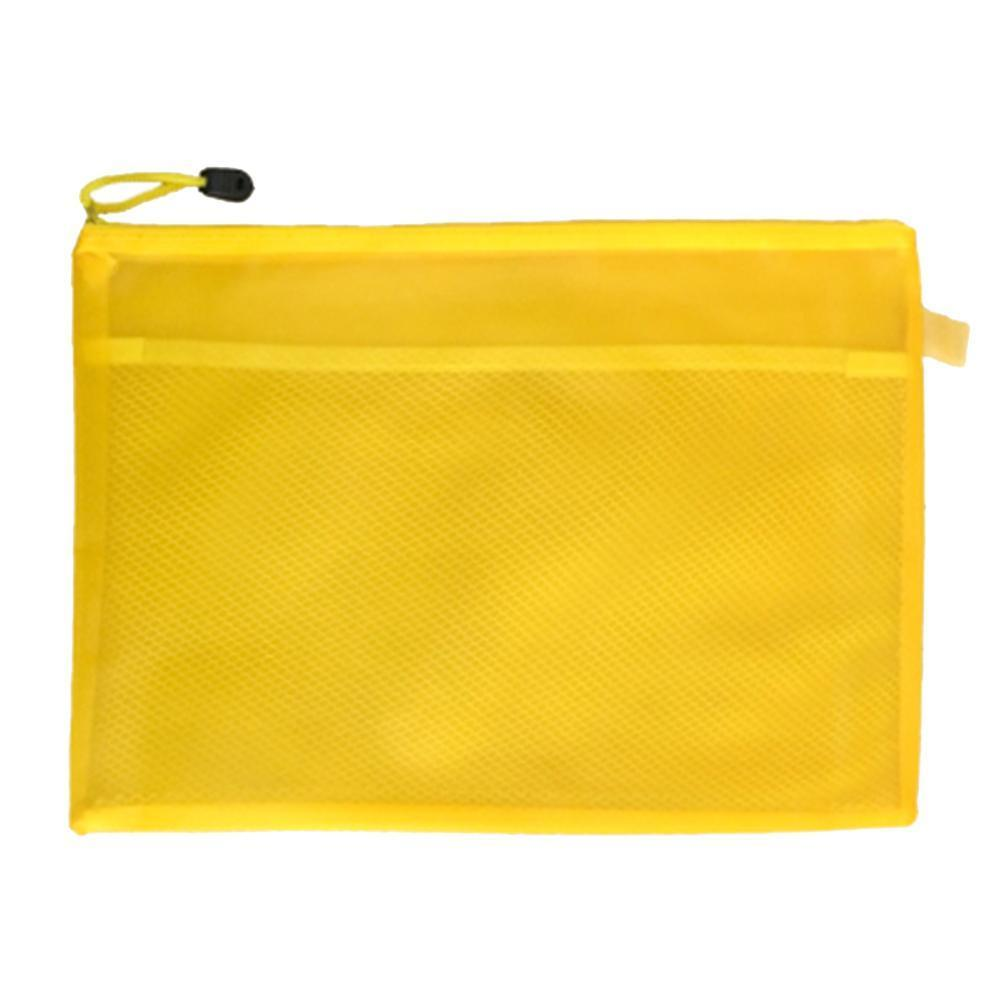 High Quality Random Color Plastic Double Layer Paper Pencil Pouch Bag Bill Zipper File Document O2M5