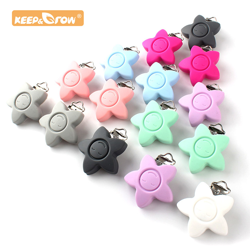Keep&Grow 10pcs Star Pacifier Clip Silicone Teether Metal Accessories Rodent DIY Baby Teething Necklace Pendant Clamp