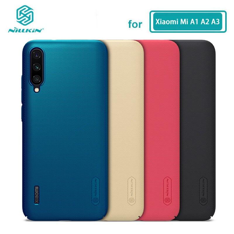 Pour Xiaomi mi A3 étui Nillkin givré bouclier dur couverture arrière pour Xiaomi Mi A1 A2 A3 MiA1 MiA2 MiA3 Mi 5X 6X CC9E
