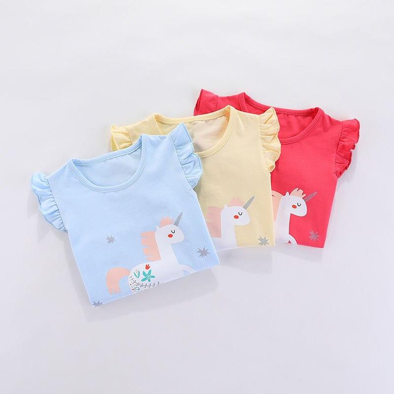 VIDMID Children baby girls kids Short Sleeve T-Shirts Baby girls unicorn rabbits summer girls casual cute cotton tops tees p2007 4