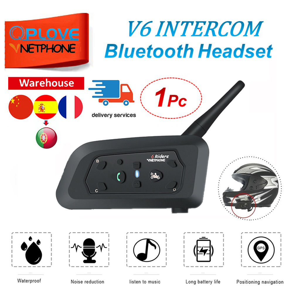 QPLOVE VnetPhone 1pc V6 Motorcycle Bluetooth Intercom 1200m Distance Wireless Talking Helmet Accessories France And Spain