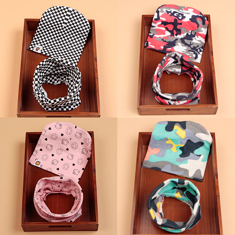 Autumn And Winter Children's Cotton Hat Scarf Set Men's And Women's Baby Cartoon Printed Cute  Scarf Set