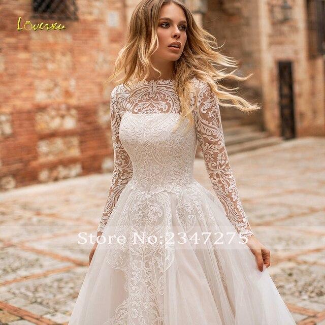 Loverxu Vestido De Noiva Long Sleeve Lace Vintage Wedding Dresses 2021 Sexy Illusion Appliques Court Train A Line Bridal Gowns 4