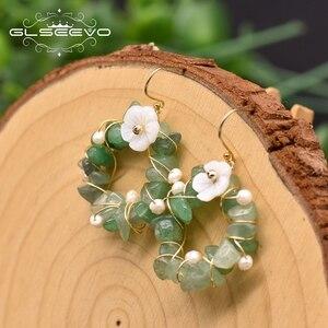 GLSEEVO naturalne Tangling Jade kobiet spadek kolczyki ręcznie zrobiony kwiatek kryształ dynda kolczyki w kształcie obręczy luksusowe grzywny biżuteria GE0962B