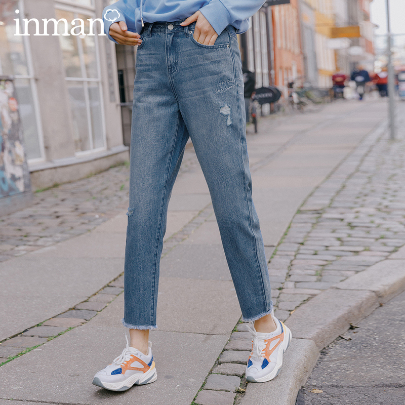 INMAN 2020 Spring New Arrival Cotton Concise Style All-match Personality Jole English Letter Embroidered Jean