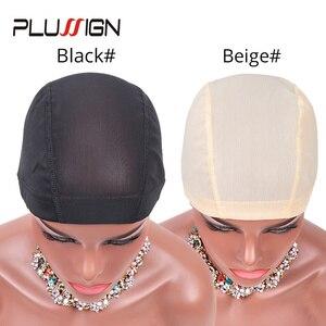 Image 2 - Plussign 12 шт./лот, купольная крышка парика из спандекса с сеткой для изготовления парика, безклеевая ткацкая шапка, парик с сеткой и эластичной лентой для женщин и девочек