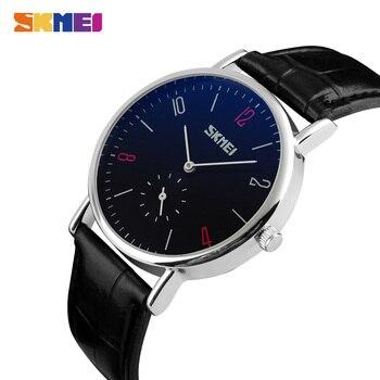 цена SKMEI Luxury Men Women Quartz Watch Relogio Masculino Feminino Leather Bracelet Lovers Wristwatch Female Male Clock 9120 New онлайн в 2017 году