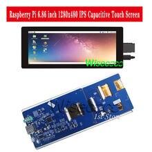 Wisecoco 6.86 Cal 1280x480 ekran dotykowy IPS moduł wyświetlacza LCD dla Raspberry 4B Pi3 Pi 3B NVIDIA, Android/Linux, Windows