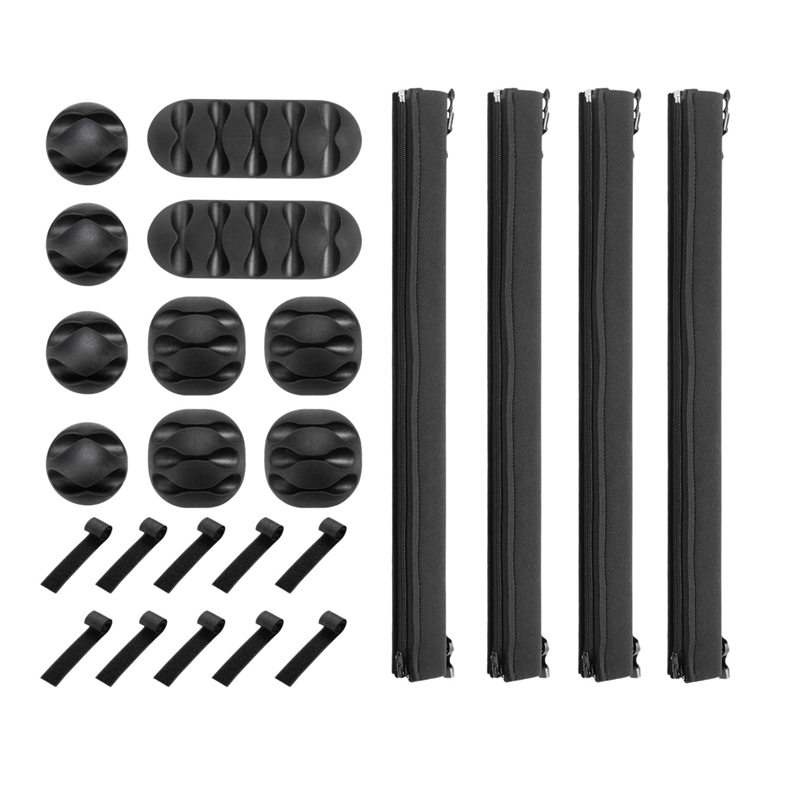 24Pcs Cable Organizer Set Cable Sleeves with Reusable Wire Perfect for TV Computer Home Office Desk Cable Management
