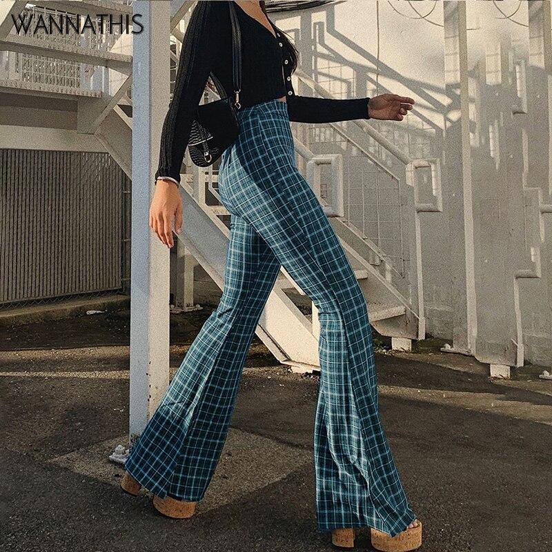 WannaThis Plaid Hohe Taille Lange Flare Hosen Herbst Frauen Dünne Hose Blau Fashion Casual Vintage Plaid Druck Frauen Kleidung