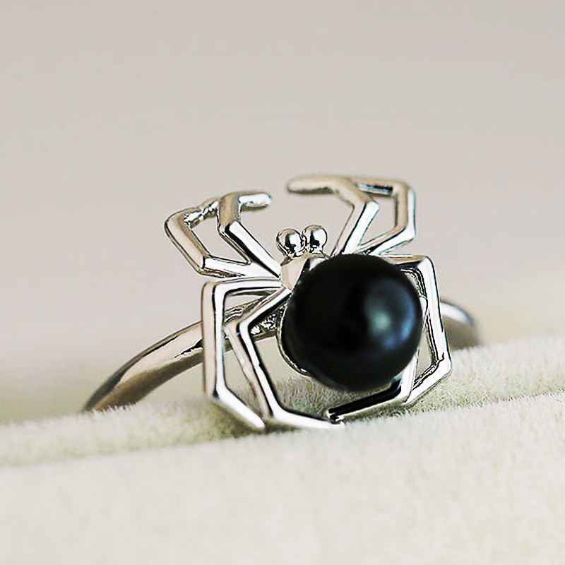 Huitan Fashion Spider Rings Funny Birthday Gift For Girlfriend Cute Black Tummy Animal Midi Rings Factory Wholesale Lots&Bulk