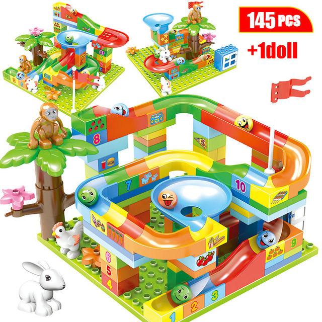 145PCS DIY Marble Race Run Maze Balls Building Blocks Duploed Big Jungle Slides Track Bricks Figures Toys for Children